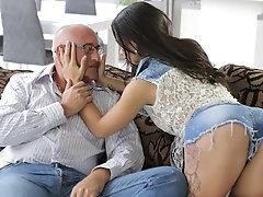 OLD4K. Old man cums in chicks...