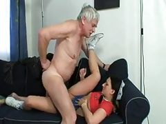 Old man eating own creampie from...