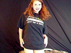Cute redhead teen with long hair...