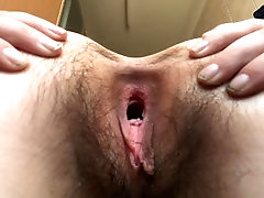 hairy open pussy doing tricks