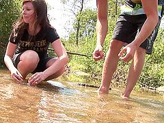 Teen amateurs play in the water...