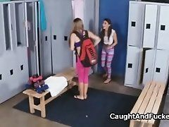 Guard fucks two teens in locker...