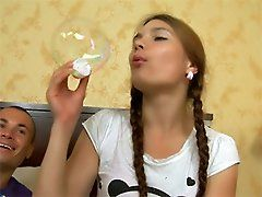 xhamster This pigtailed teen babe is...
