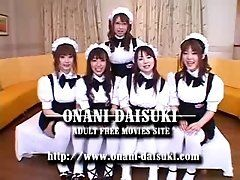 5 Japanese maid girls cosplay...