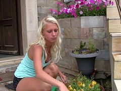 Teen outdoors on the steps...
