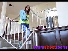 Athletic teen wearing spandex...
