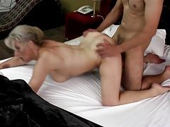 Sexy granny takes young cock in...