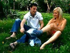 Guy inserts dick in moist hole