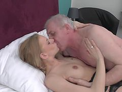 Rock hard grandpa cock fucks her...