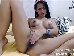 Busty Brunette Camgirl Stuffing...